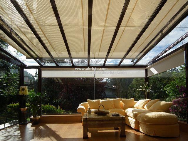 Techo m vil sobre terraza de cristal jard n shangri la - Techos para terrazas precios ...