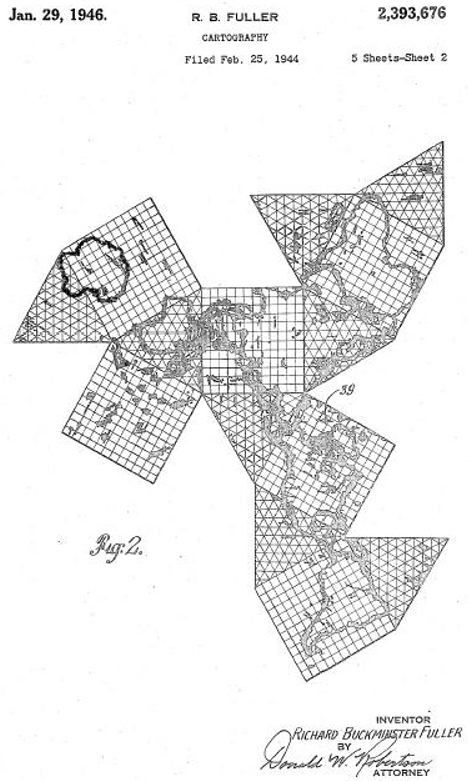 Dymaxion map from buckminster fullers patent by buckminster buckminster fullers patent for an early version of the dymaxion world map on a cuboctahedron 1946 gumiabroncs Images