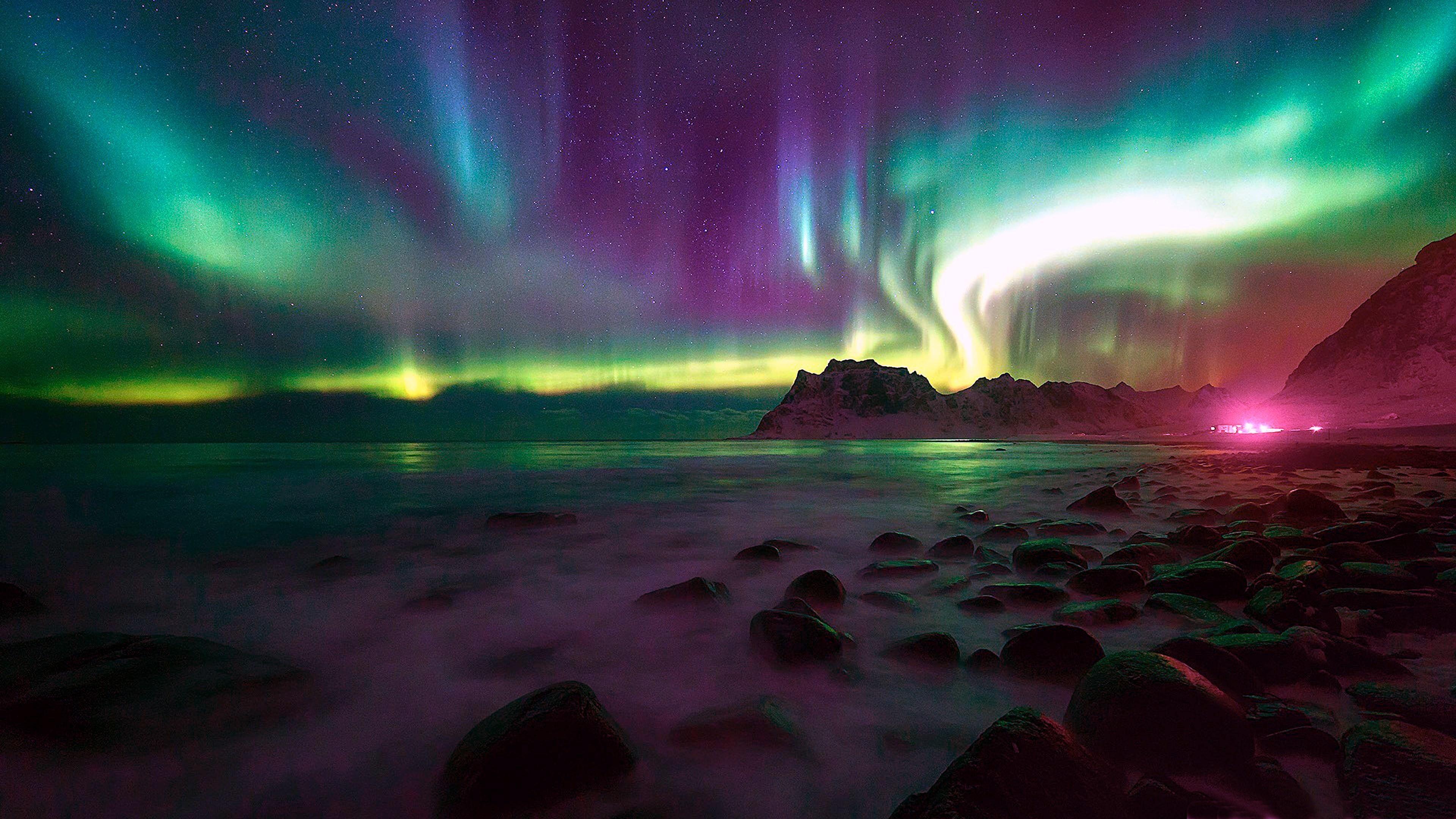 Green Sky Aurora Borealis Night Northern Lights Norway Lofoten Starry Night 4k Wallpaper Hdwallpaper Desktop Sunrise Wallpaper Green Sky Hd Wallpaper
