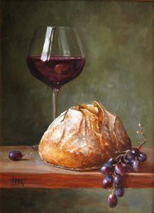 pintura-pan, vino-uvas