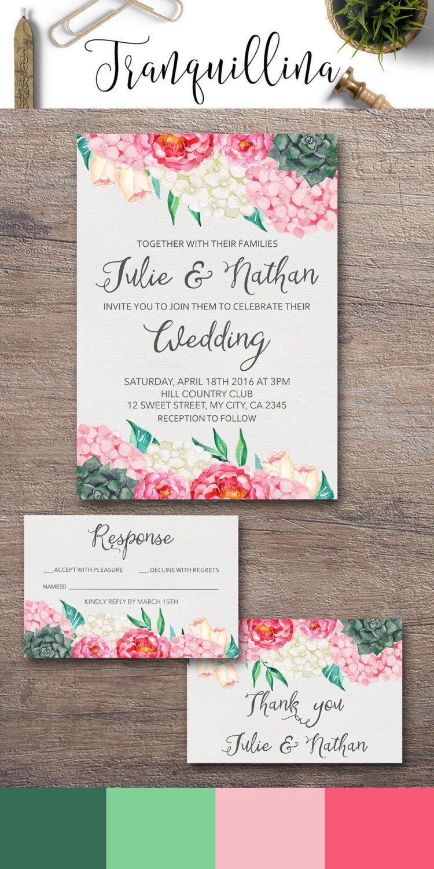 Boho Wedding Invitation Suite Succulent Wedding Invitation