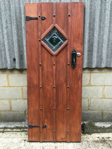 1930s Wooden Front Door Castle Gothic External Stained Glass Old