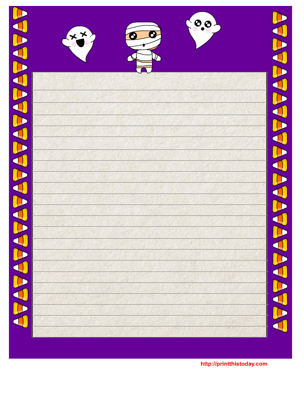 Free Printable Halloween Writing Paper With Purple Border  Free Printable Writing Paper