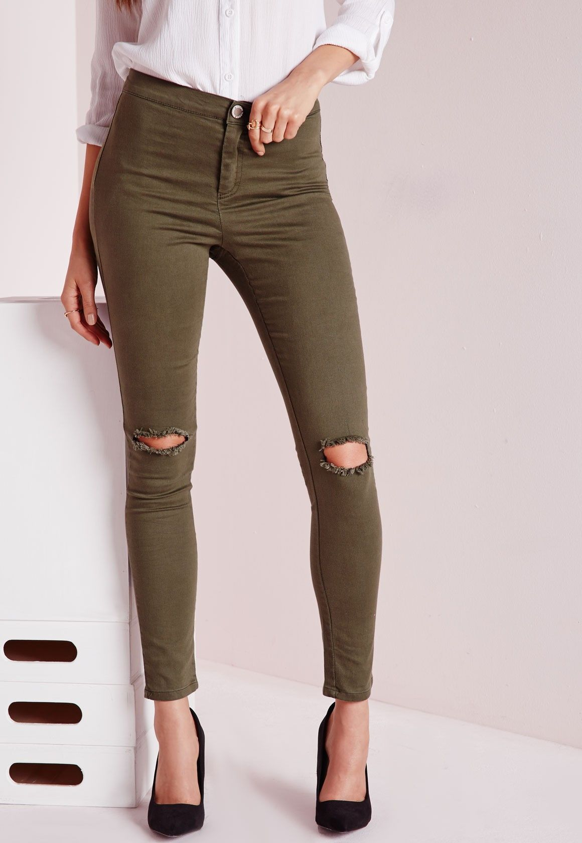 Lawless Mid Rise Ripped Knee Jegging Khaki - Denim - Jeans - Missguided