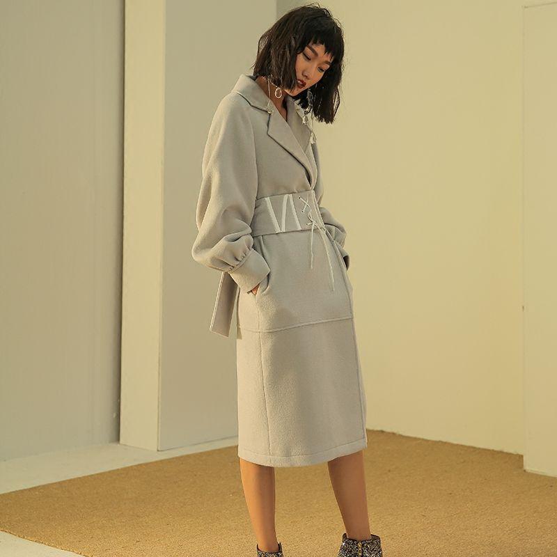 Fashion vintage wide <font><b>cummerbund</b></font> overcoat woolen outerwear female medium-long wool coat women