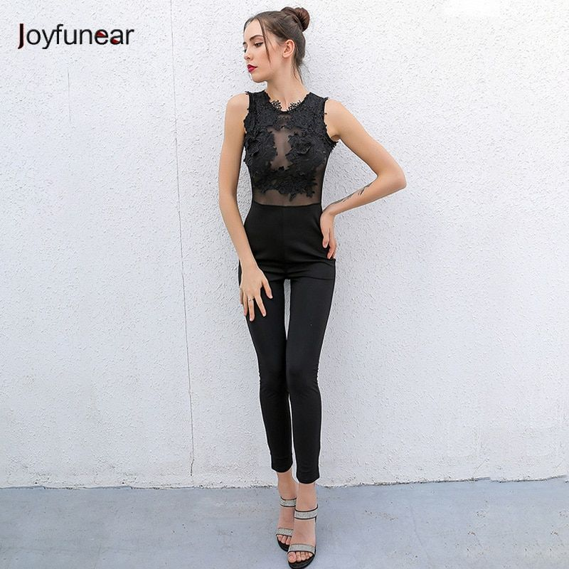 1e1f65a77cd7  31.63 - Cool Sexy Fashion Lace stitching Jumpsuit Women Clothes 2016 New  Long Sleeveless back zipper Women Boysuits Hollow Out Lace Jumpsuit - Buy  it Now!