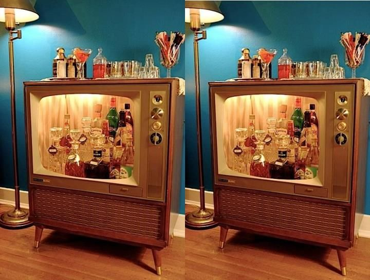old tv turned into a lil bar. and all the cool things you can make