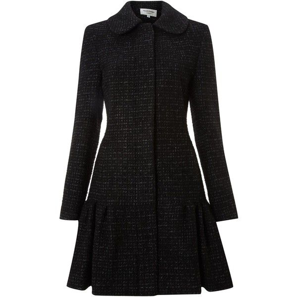 Helene Berman Sparkle wool frock coat (360 BRL) ❤ liked on Polyvore featuring outerwear, coats, jackets, coats & jackets, black, women, sale, helene berman, helene berman coat and single-breasted trench coats