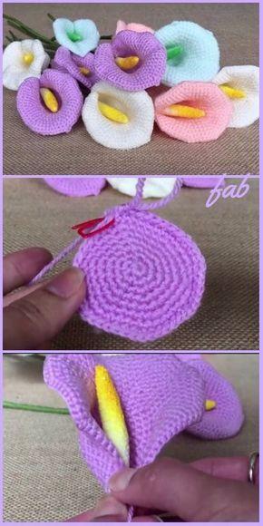 Crochet Calla Lily Flower Free Pattern Tutorial Video