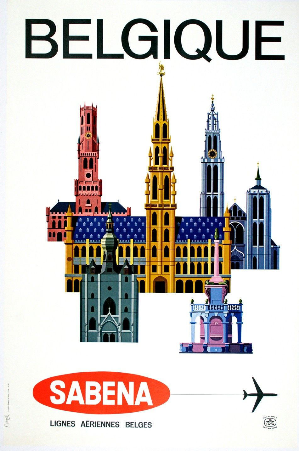 Sabena Belgique Buildings By Anonymous Tourism Poster Vintage Travel Posters Vintage Airline Posters
