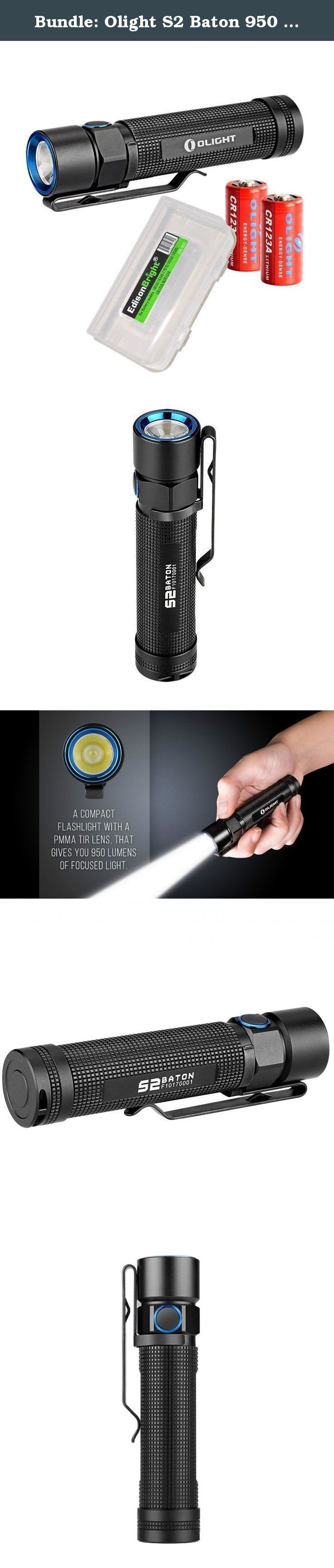 Bundle: Olight S2 Baton 950 Lumen CREE LED Flashlight with 2X Olight CR123 lithium batteries and EdisonBright battery carry case. The S2 Baton (S2) is a new side switch LED flashlight powered by a single 18650 battery or two CR123A lithium batteries. The S2 uses a high performance Cree XM-L2 LED which is able to deliver a maximum output of 950 lumens. The S2 carries a homogeneous beam by using a 90% light transmittance PMMA TIR lens that provides the light with a cool white balanced...