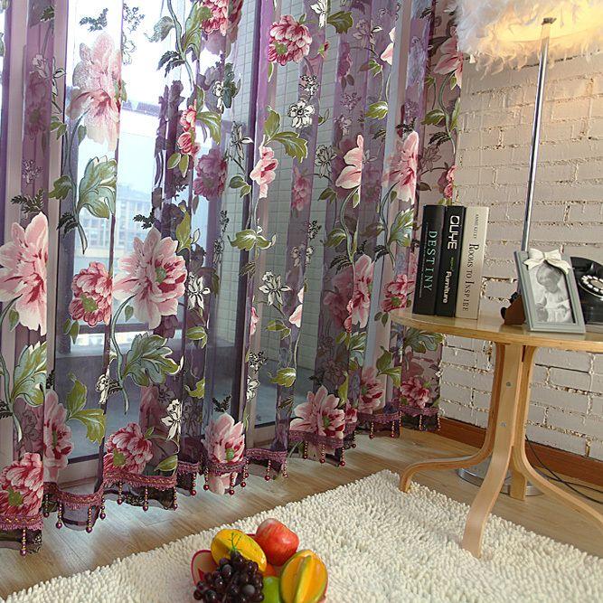 Barato venda quente roxo floral tulle em cortinas para sala de ...