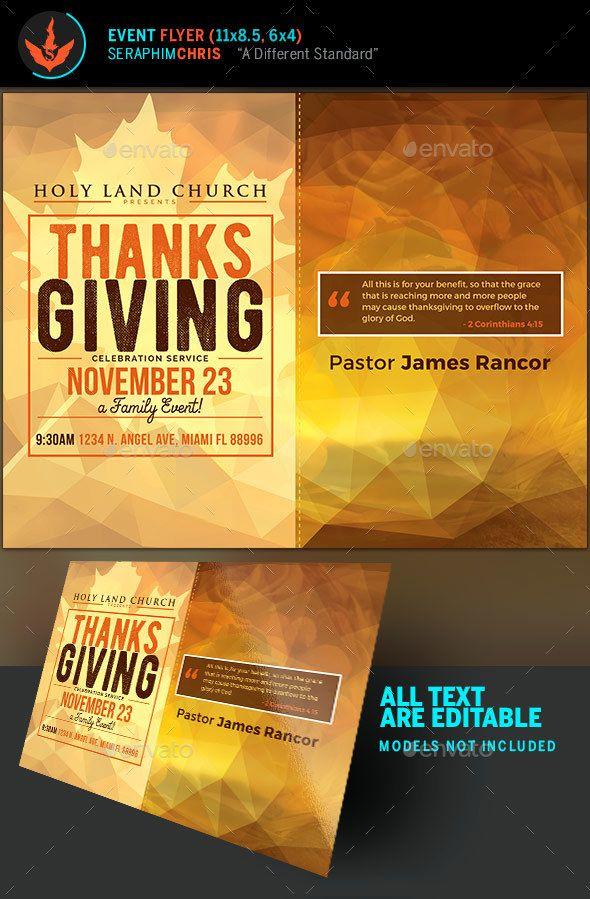 Thanksgiving Service Fall Flyer Template  Flyer Template