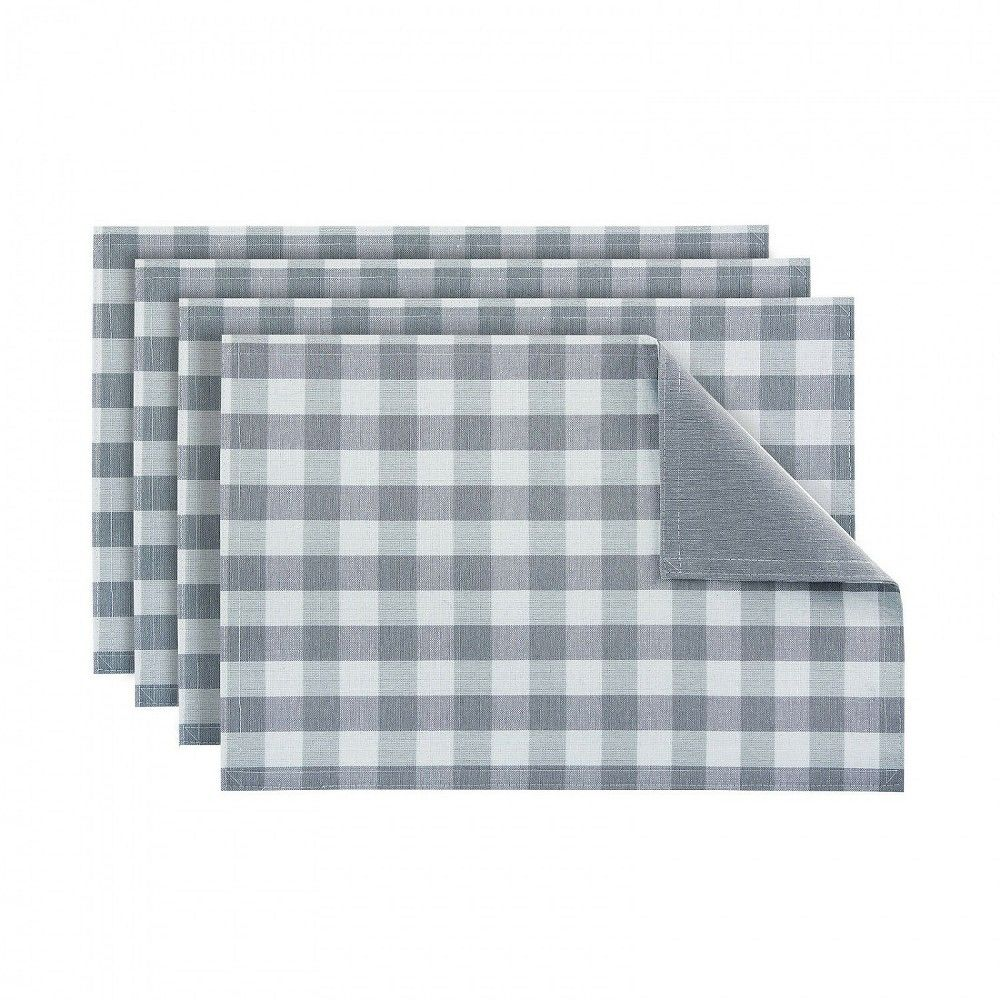 Kate Aurora 4 Pack Gingham Plaid Checkered Reversible Country Farmhouse Placemats Gray Farmhouse Placemats Country Farmhouse Country Kitchen Farmhouse