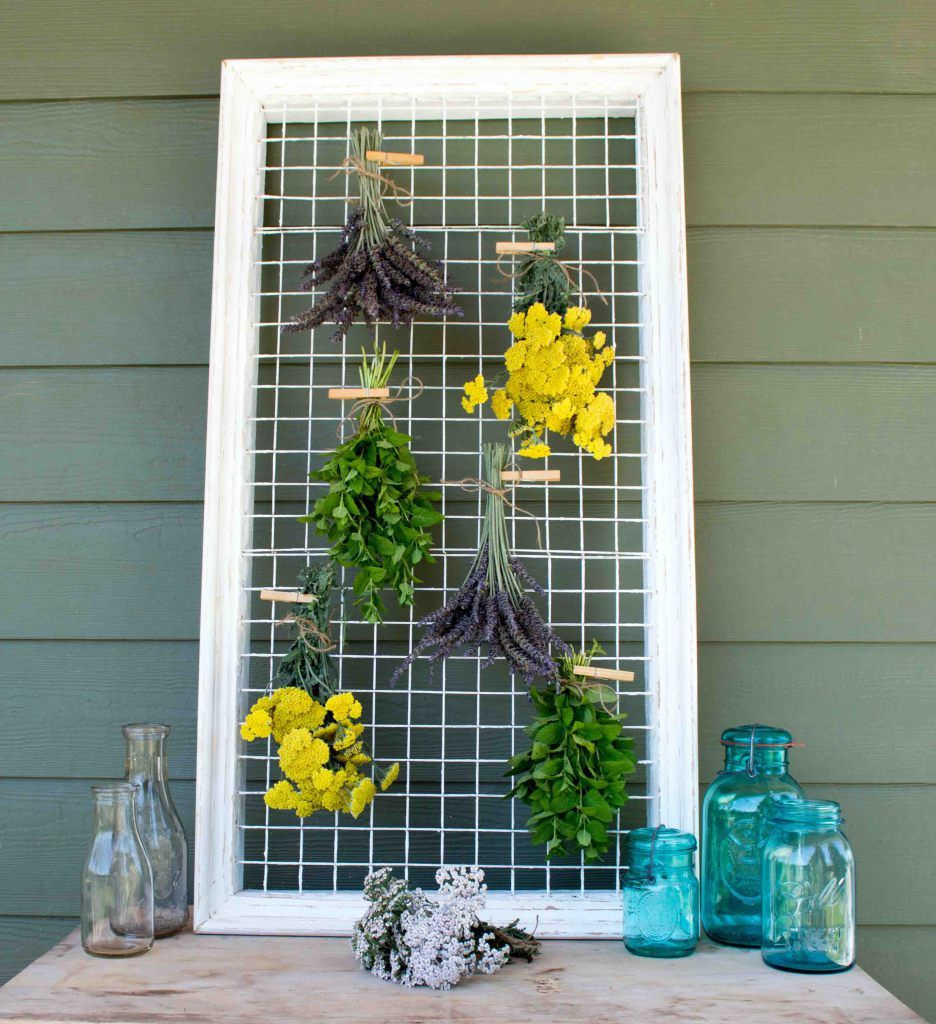 herb drying rack repurposed from a picture frame herb drying racks herb rack drying herbs pinterest