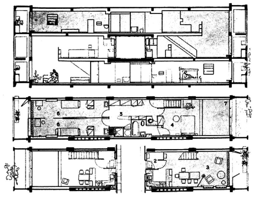 Le corbusier unit d habitation plan arquit for Plan habitation
