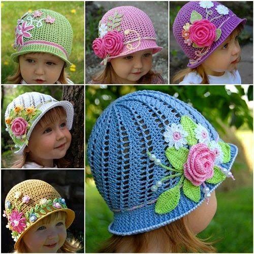 Sombreros encantadores para niñas tejidos al crochet 94e9c3f118d