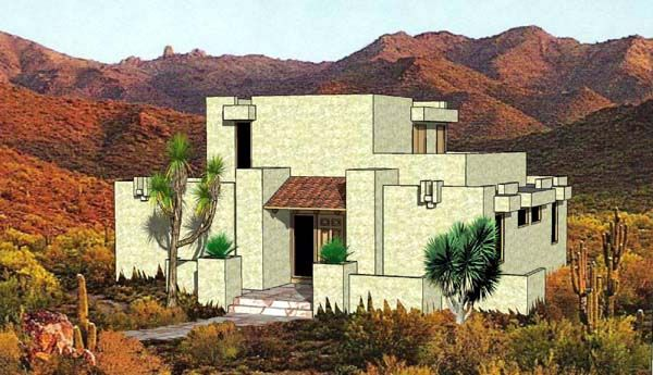 Southwest Style House Plan 94304 With 3 Bed 2 Bath Adobe House House Plans House Floor Plans