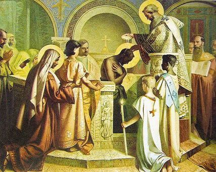 Ambrose baptising Saint Augustine  | Ambrose of Milan