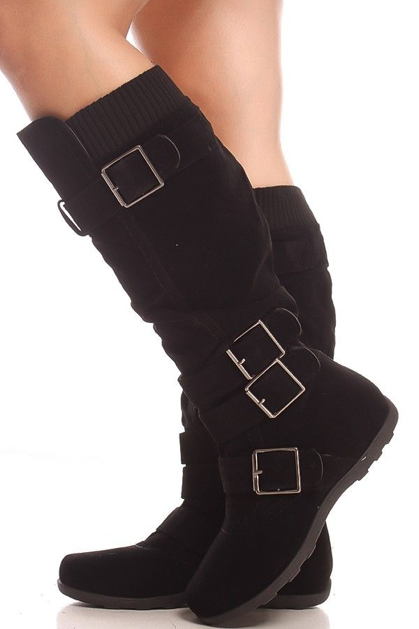 BLACK SUEDE MATERIAL BUCKLE STRAPS SIDE ZIPPER CASUAL KNEE HIGH BOOTS,Women's  Boots-Sexy