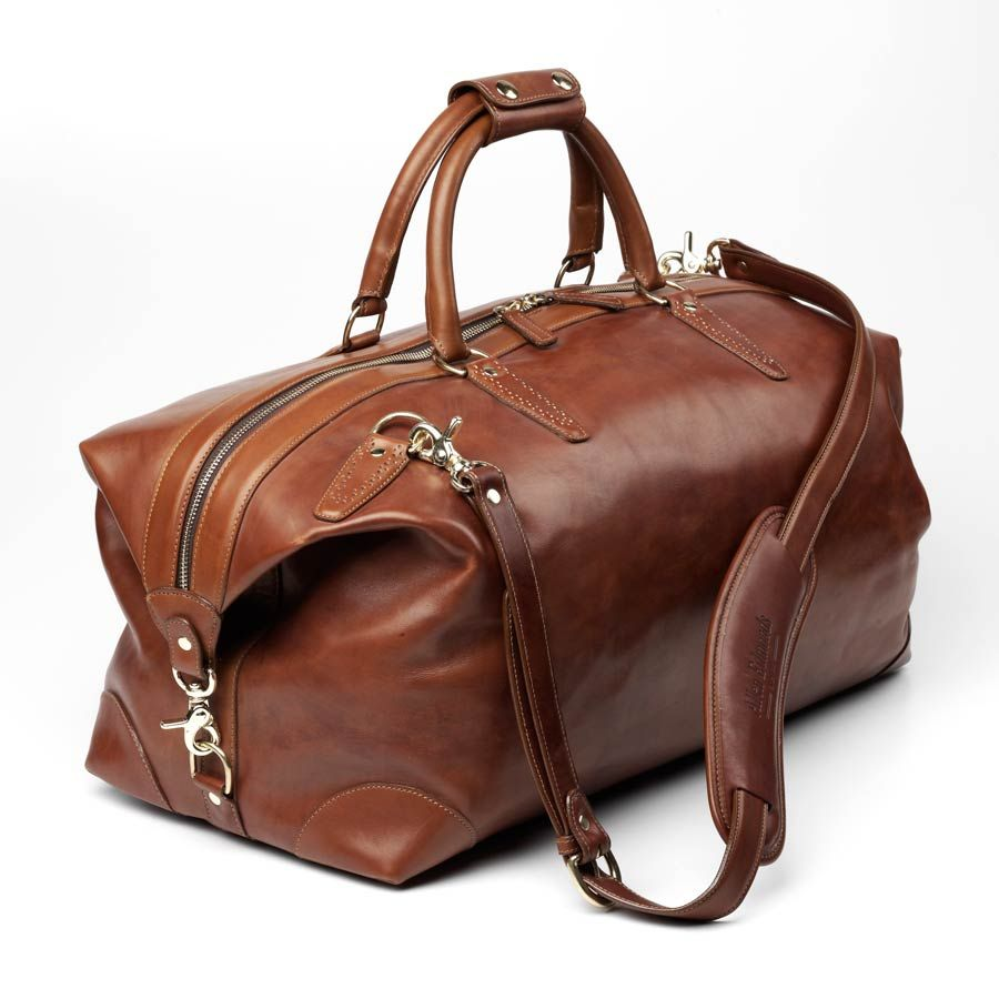 Allen Edmonds Strand Collection - Walnut Leather Duffel Bag ...