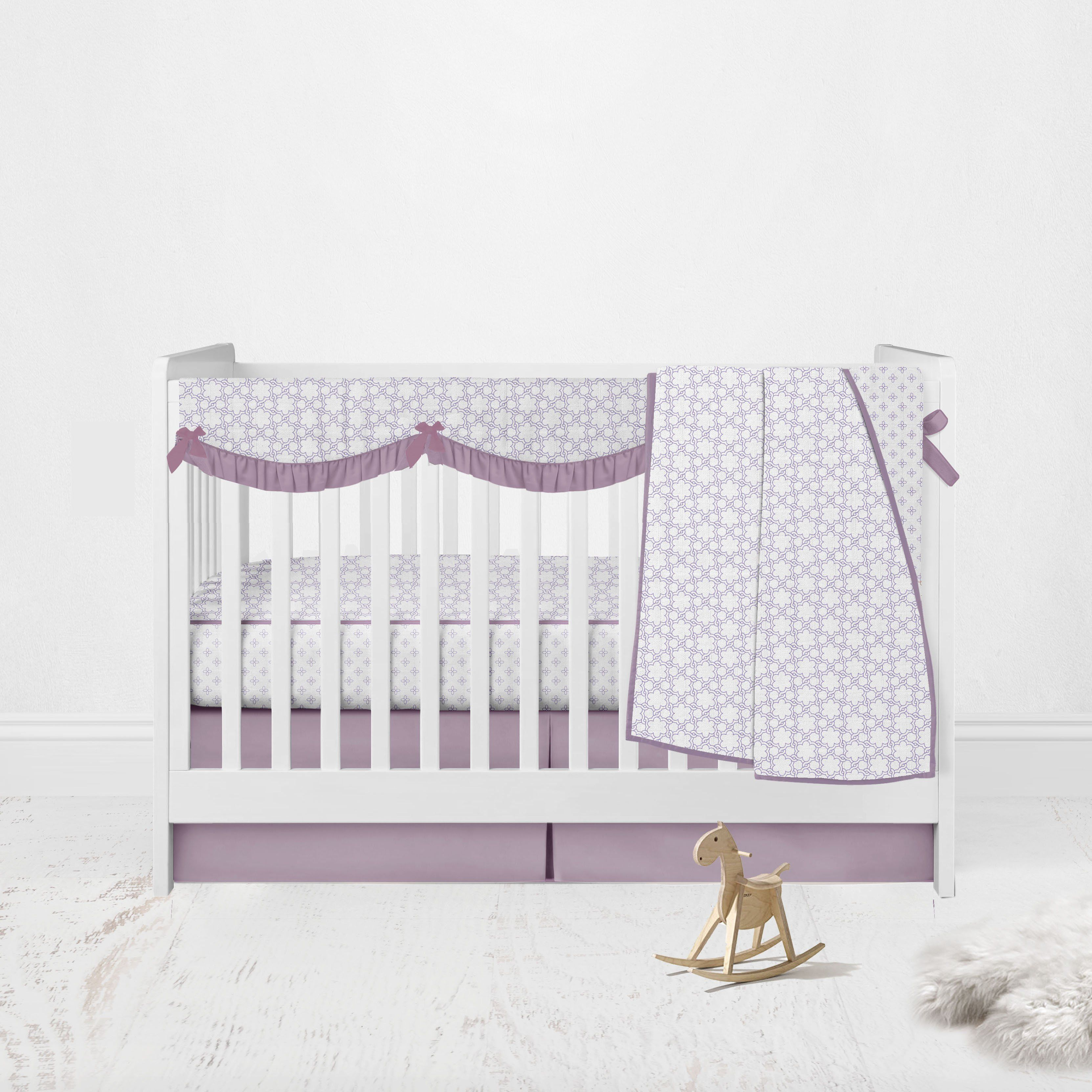 Bacati - Muslin Girls Crib Bedding Set Paisley Petals Floral Lilac - 4 pc Crib Set with Crib Rail Cover