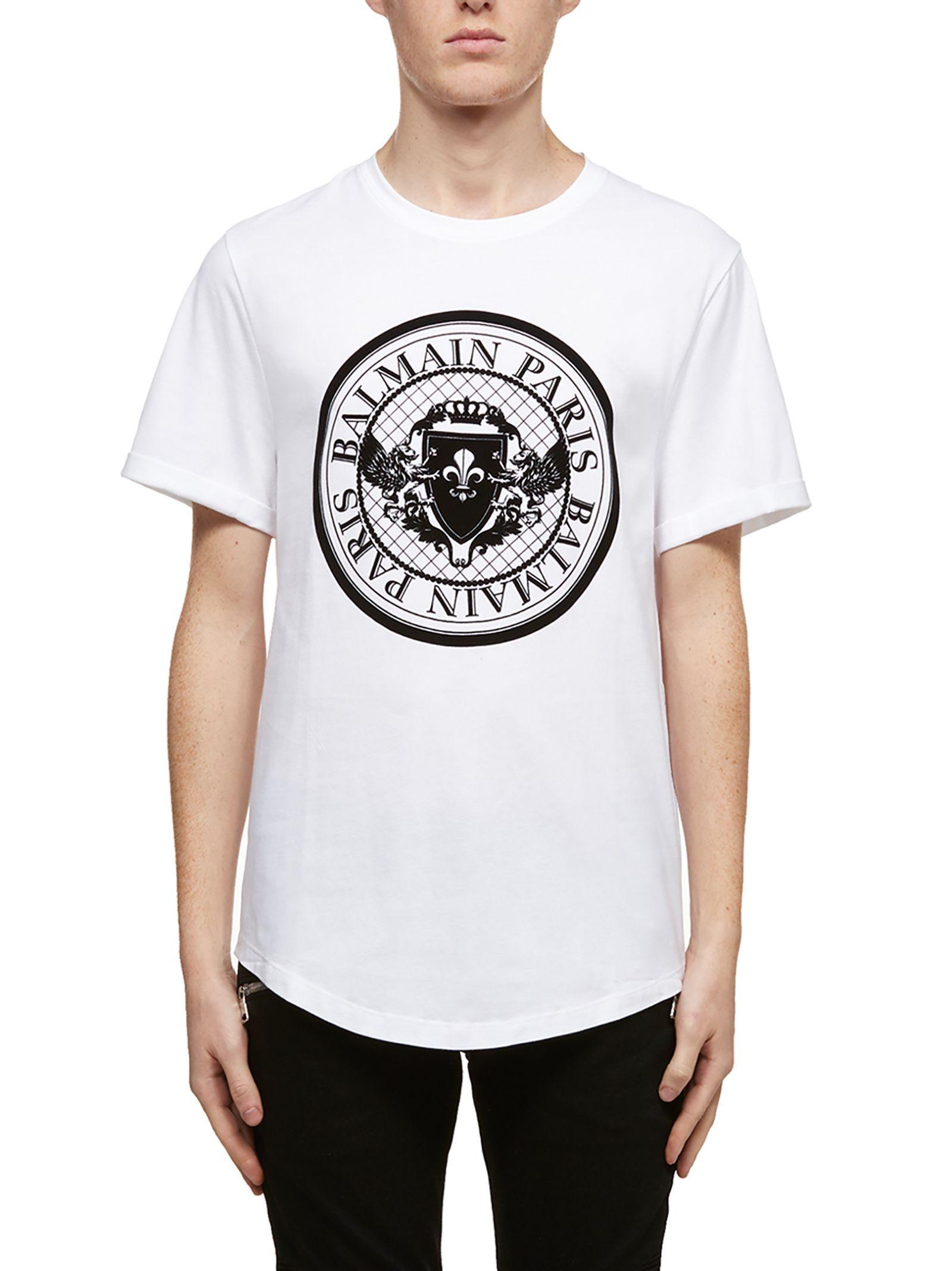 d8107ad62 BALMAIN ROUND LOGO CLASSIC T-SHIRT. #balmain #cloth | Balmain in ...