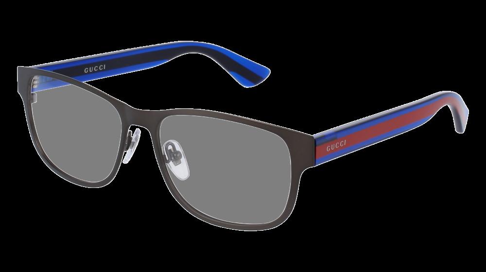 cb46374ba887 Gucci - GG0007O-003 Ruthenium Blue Eyeglasses / Demo Lenses ...