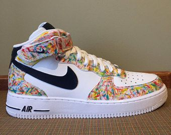 sports shoes 36fc2 0fe21 Custom painted abstract nike air force 1 high top