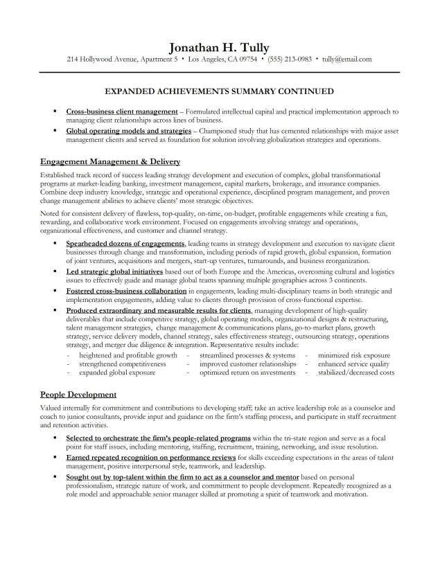 executive summary example resume and get ideas create your - exec summary example
