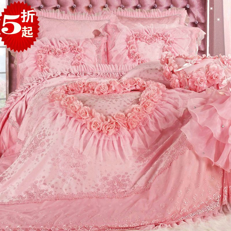 Aliexpress Com Buy Super Luxury Romantic Pink Lace Rose Bedding Sets Modern Wedding Bedding Quality Sati Pink Bedroom Accessories Rose Bedding Comforter Sets