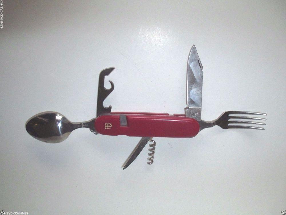 Swiss Army Pocket Knife Fork Spoon Cork Screw Separates
