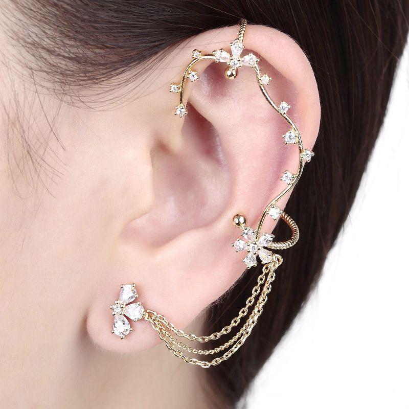 Fl Vine Wrap Clip On Tel Chain Ear Cuff Earring