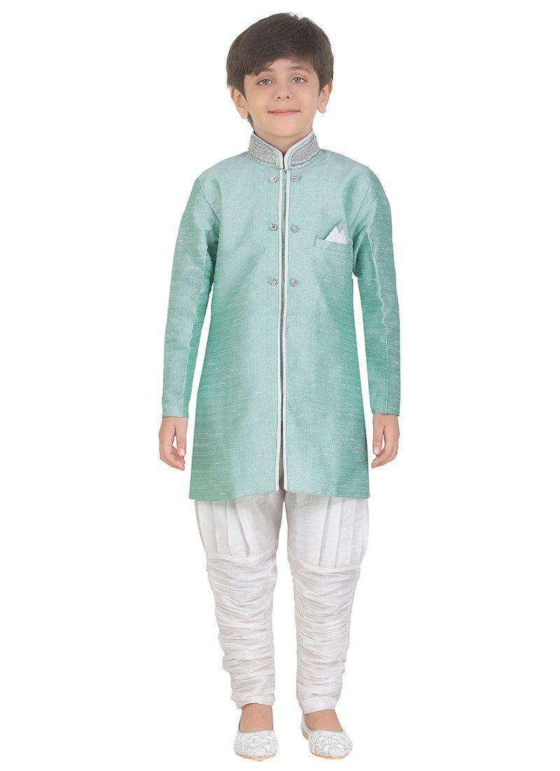 8f848df3a3 Sea Green Art Silk Kids Kurta Pyjama