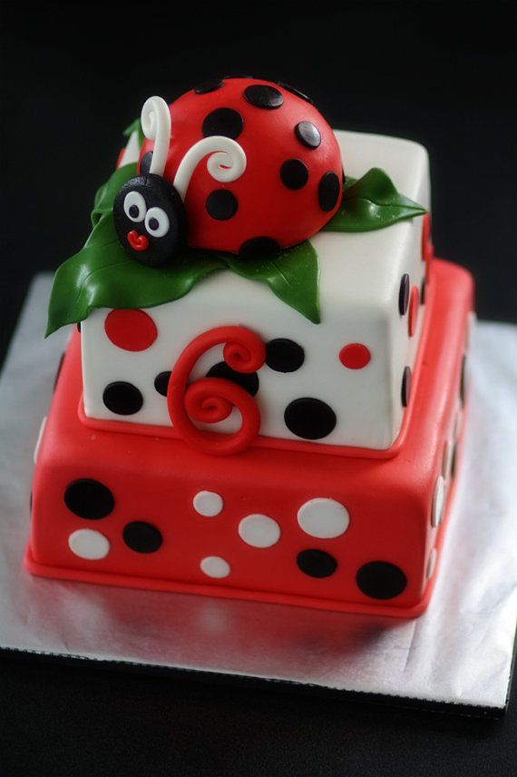 Ladybug Fondant Cake Topper And Matching Polka Dot Age Decorations Perfect For A