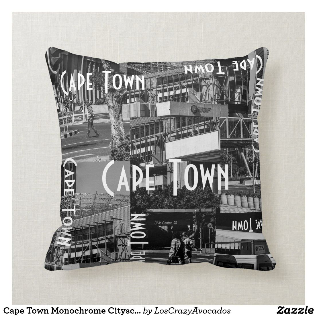 Cape Town Monochrome Cityscape Architecture Throw Pillow Zazzle Com Monochrome Custom Pillows Throw Pillows