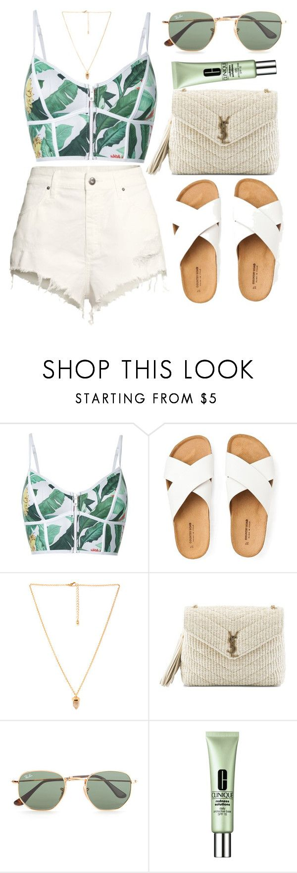 """""""Feel green"""" by amoiblog ❤ liked on Polyvore featuring Duskii, Love 21, Yves Saint Laurent, Ray-Ban, Clinique and H&M"""