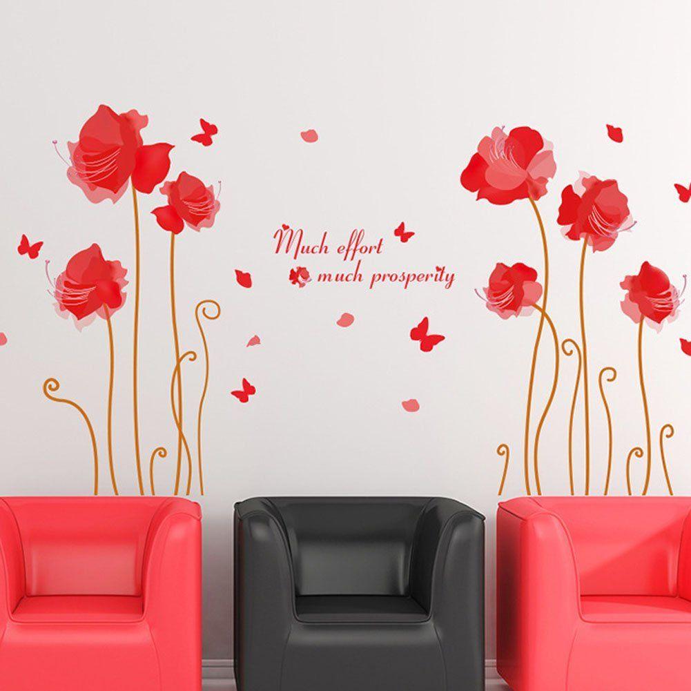 Fange DIY Removable Fashion Beautiful Flowers Butterfly Art Mural ...