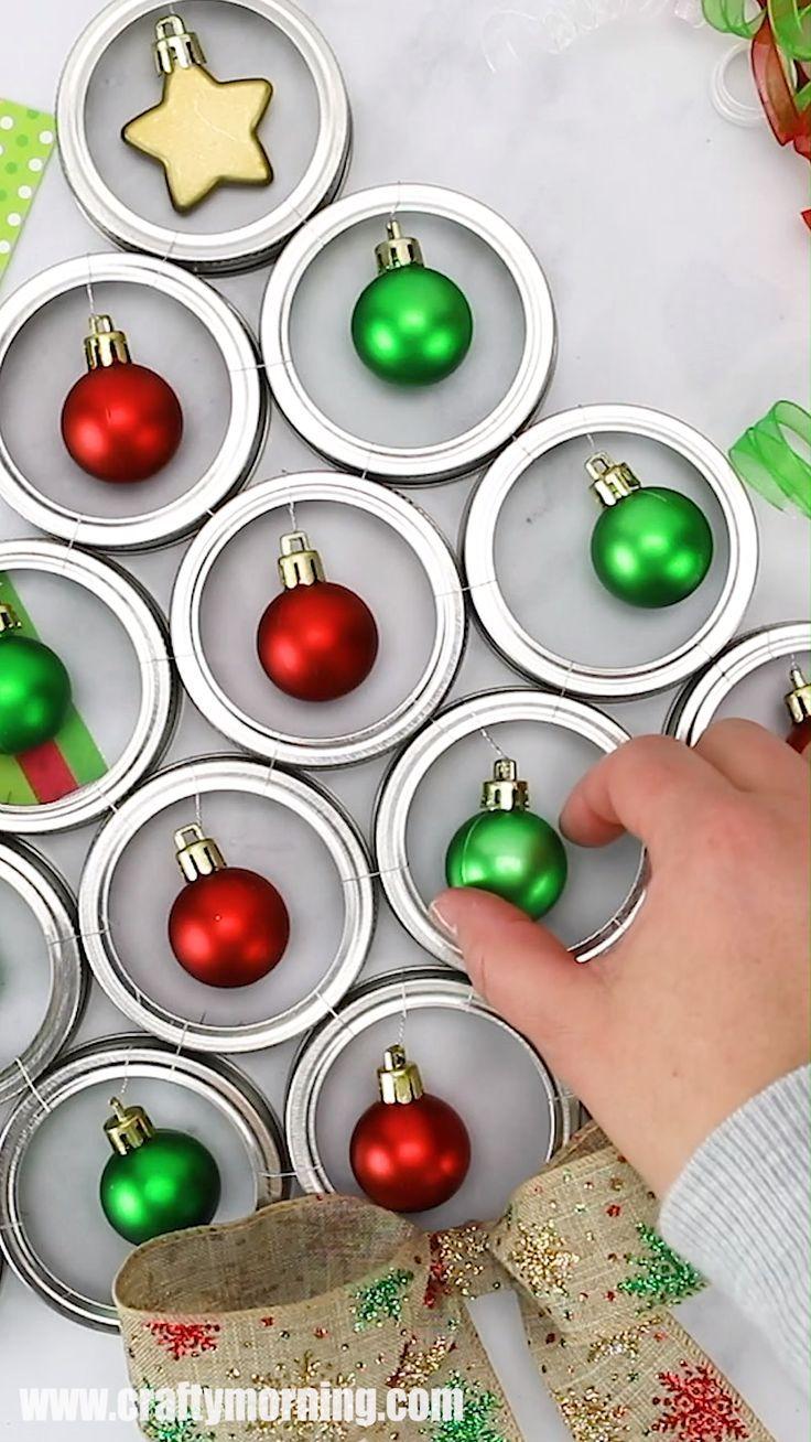 Photo of Mason Jar Lid Christmas Tree Door Hanger – Crafty Morning