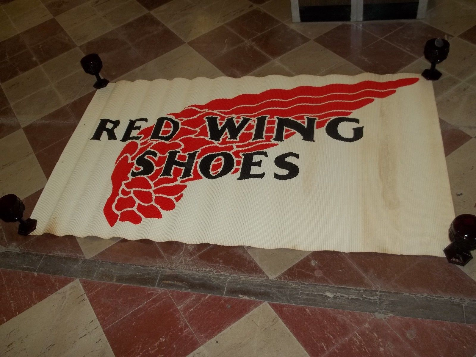 """RARE VINTAGE RED WING SHOES - HUGE 60"""" X 35"""" RARE CLOTHING STORE WALL ADVERTISE 