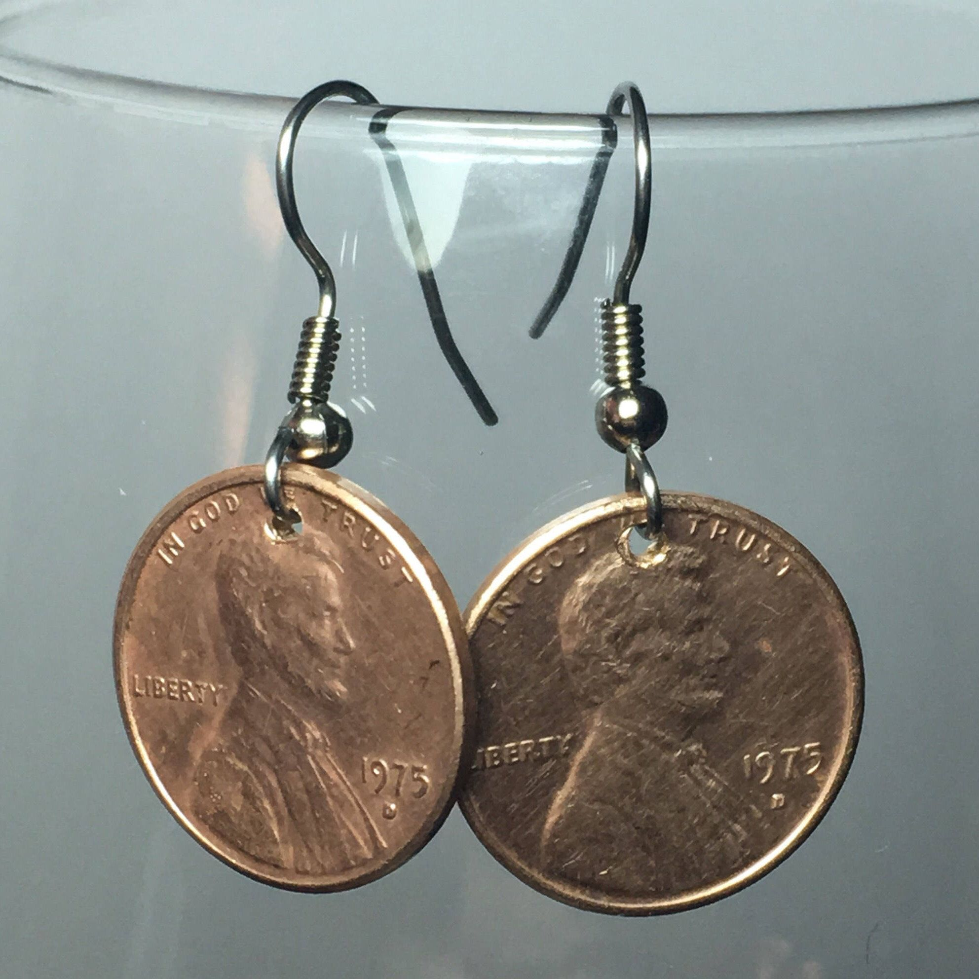 1975 Penny Earrings 45 Year Anniversary 45th Birthday by