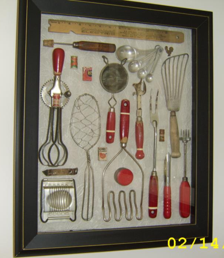 If you've been wondering what to do with your mother and grandmother's kitchen tools (other than using them, of course) Barbara Mariani has just provided one great idea.