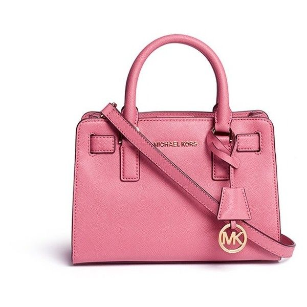 Michael Kors 'Dillon' small saffiano leather satchel (£150) ❤ liked on Polyvore featuring bags, handbags, pink, saffiano leather satchel, pink purse, michael kors satchel, structured handbag and monogrammed purses