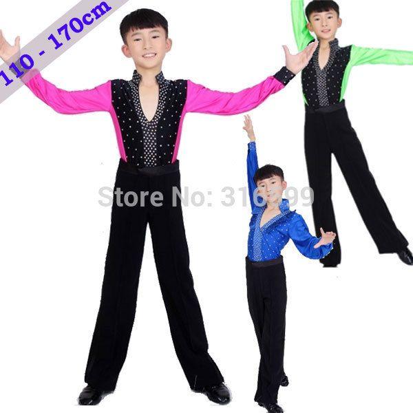 c04dbbea3 Boys Ballroom Latin Dancing Suit Fashion Latin Dance Dress Boys Men 110  170cm Latin Costume Stage