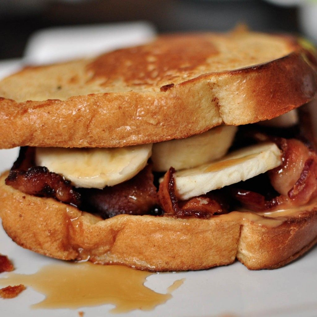 French Toast Peanut Butter Bacon Banana Maple Syrup Sandwich French Toast Sandwich Breakfast Recipies Food It's usually served in a rye bread sandwich smeared with tangy yellow mustard, but you'll also see it as a topping for poutine. french toast peanut butter bacon banana