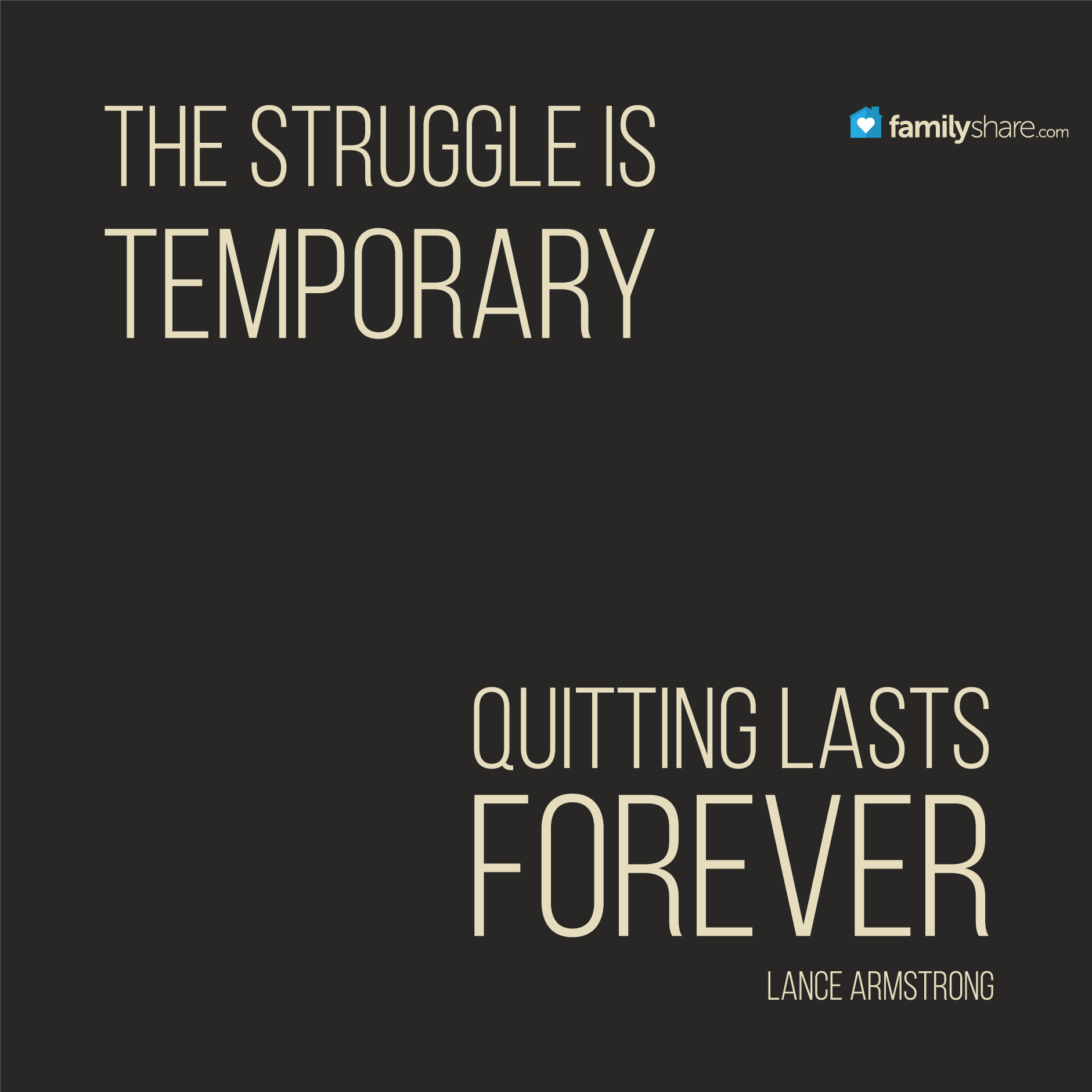 The struggle is temporary, quitting lasts forever. - Lance ...