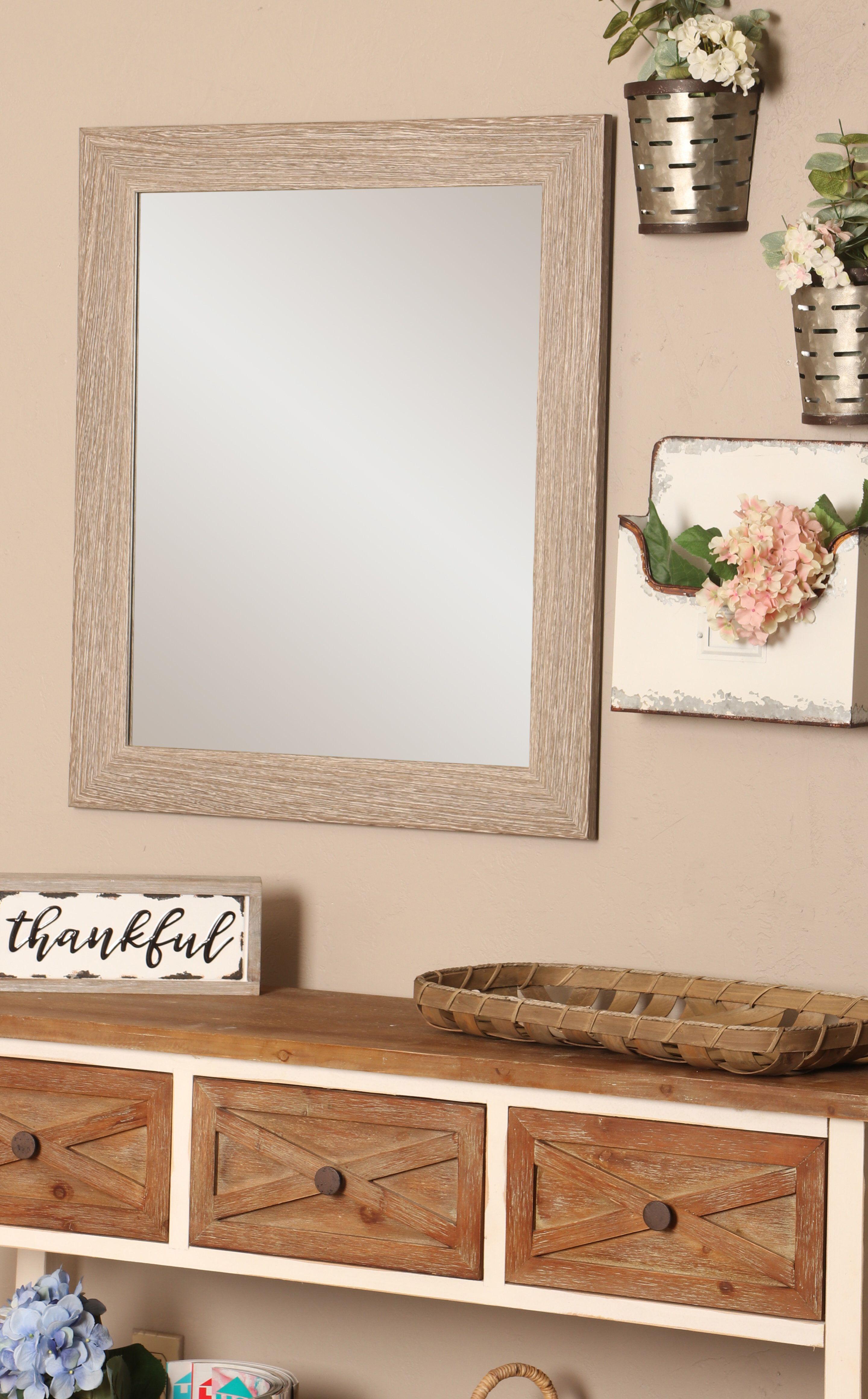 Kirsten Rustic Distressed Frameless Bathroom/Vanity Mirror
