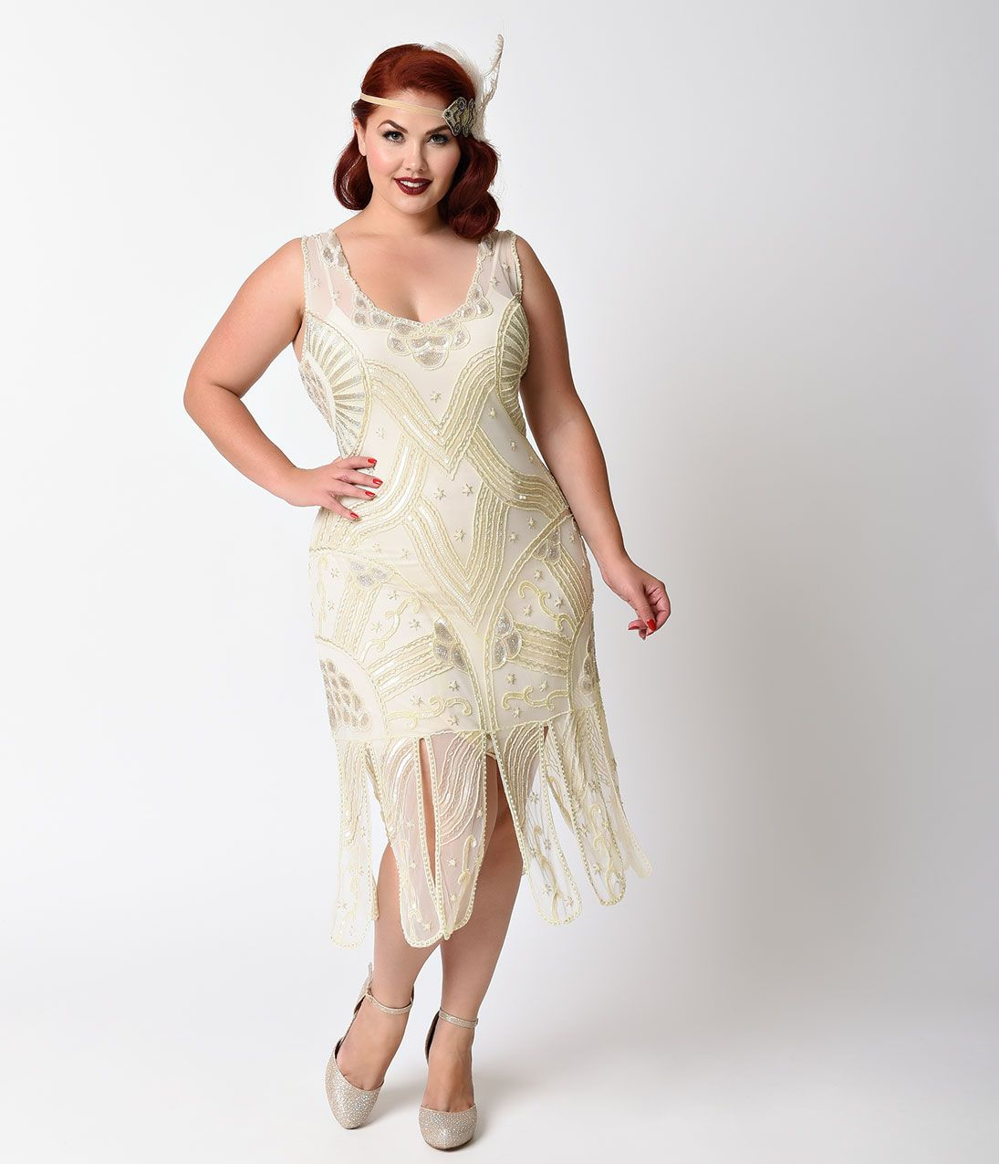 Plus size vintage dresses plus size retro dresses flapper fashion unique vintage plus size style ivory beaded sinclair flapper dress ombrellifo Gallery