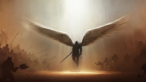 "Warrior Angel - ""And there was war in Heaven:  Michael and his angels fought against the dragon...and the great dragon was cast out..."" Rev. 12:7-9"