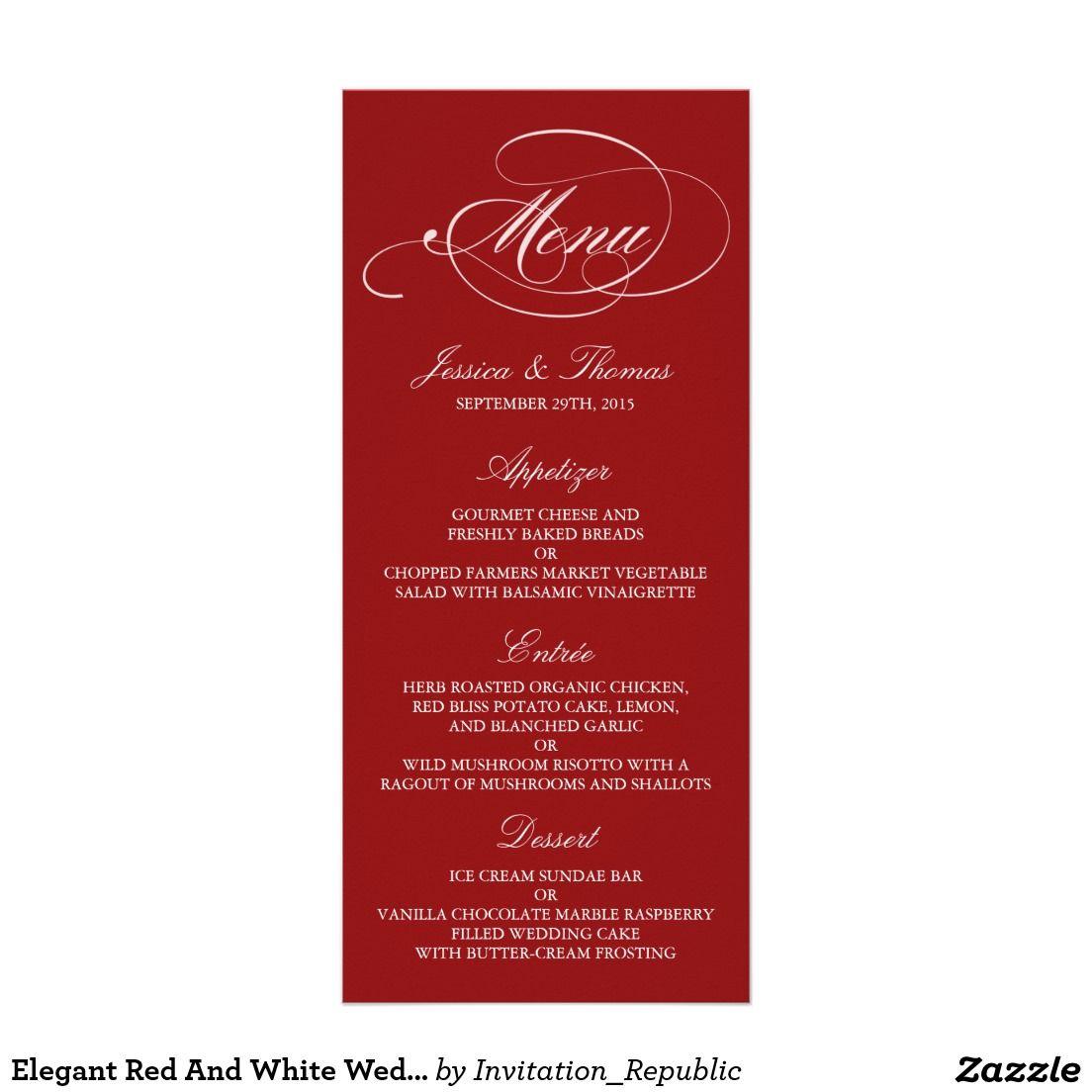 Elegant Red And White Wedding Menu Templates   Pinterest   Wedding ...
